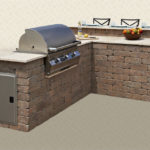 Rustic Wall Stone -L Shaped BBQ with Bar Riser