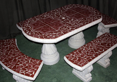 Oval-Rectal Table Set w/ 4 Benches